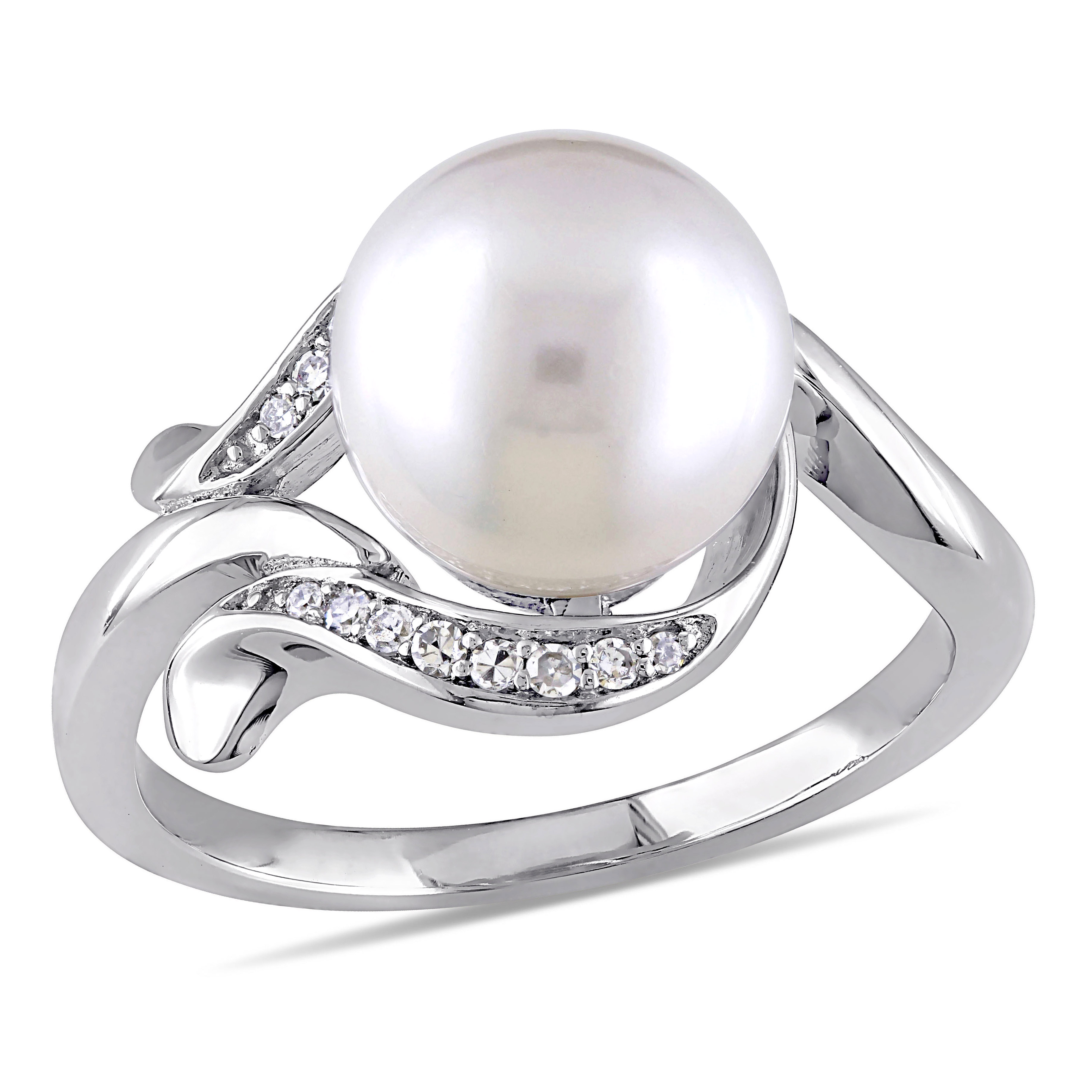 BAGUE OR BLANC PERLE CULTURE &7 PTS DIA