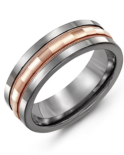 JONC TUNGSTEN ET OR ROSE 10 KT 7 MM 2 TONS (BLANC/ROSE)
